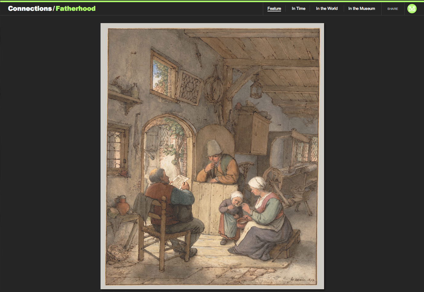 "Figure 11:  Adriaen van Ostade's ""Reading the News at the Weavers' Cottage,"" 1673"