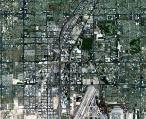 Aerial map view of Las Vegas.
