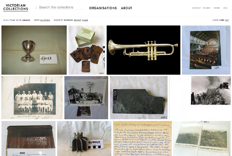Victorian Collections homepage, launched early 2014